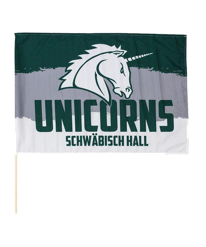 Unicorns Fahne 60x80cm mit Stock - weiss