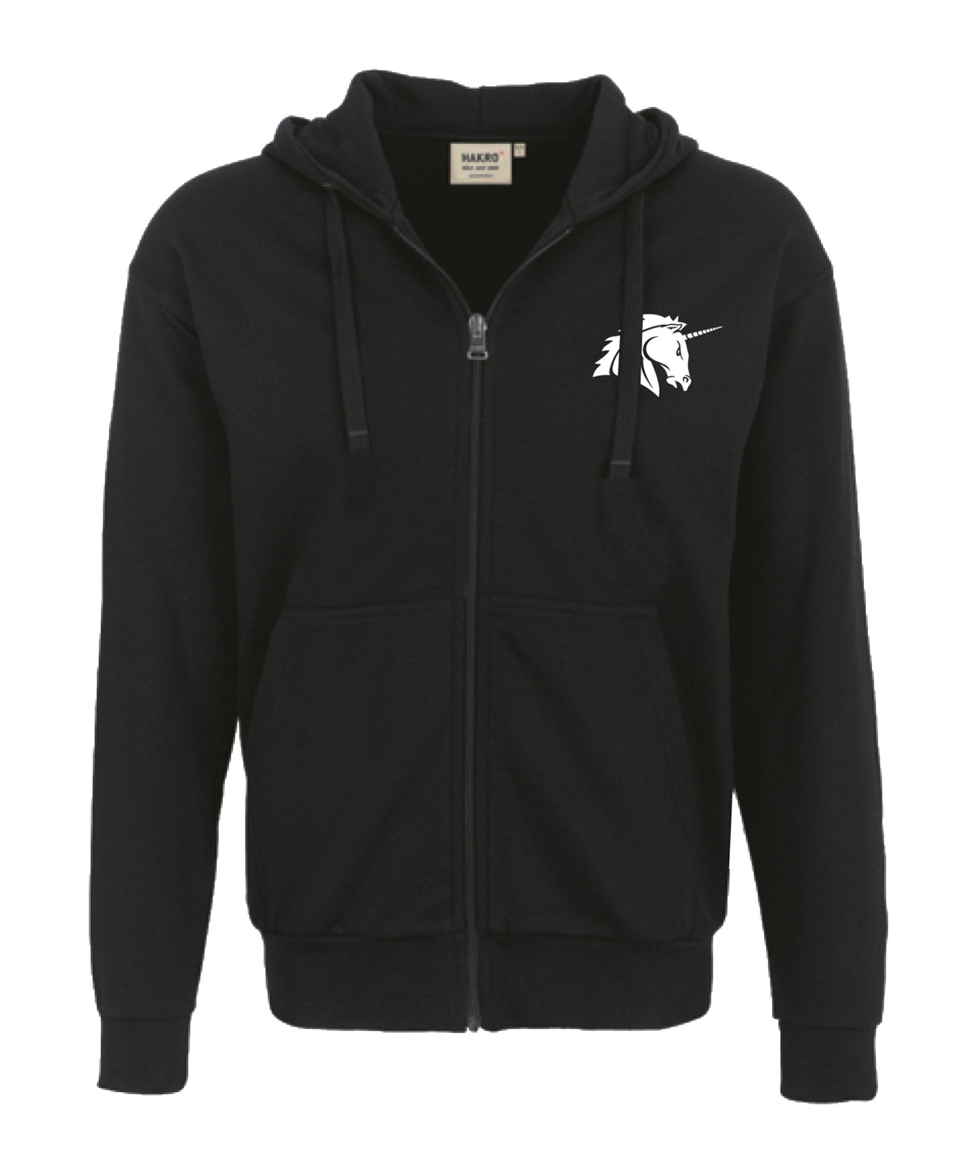 Unicorns Premium Kapuzen Sweatjacke Schwarz - schwarz