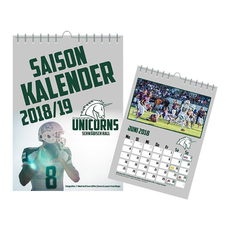 Unicorns Saisonkalender 2018/2019 Din A3 - gruen